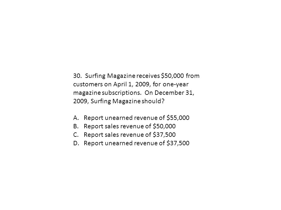 30. Surfing Magazine receives $50,000 from customers on April 1, 2009, for one-year magazine subscriptions. On December 31, 2009, Surfing Magazine sho