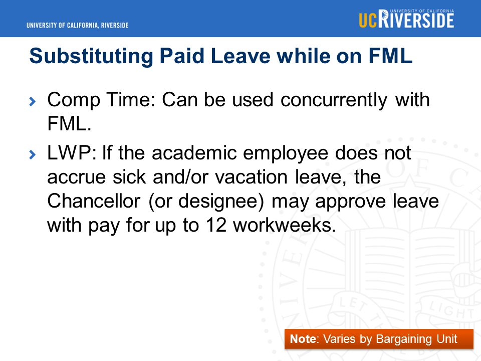Substituting Paid Leave while on FML Comp Time: Can be used concurrently with FML.