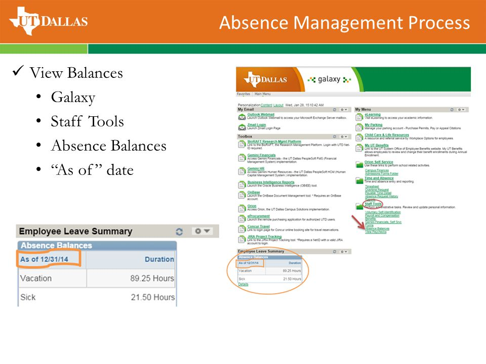 "Absence Management Process View Balances Galaxy Staff Tools Absence Balances ""As of"" date"