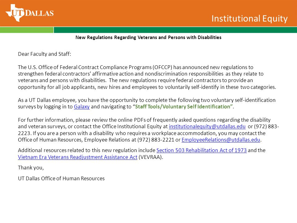 Institutional Equity New Regulations Regarding Veterans and Persons with Disabilities Dear Faculty and Staff: The U.S.