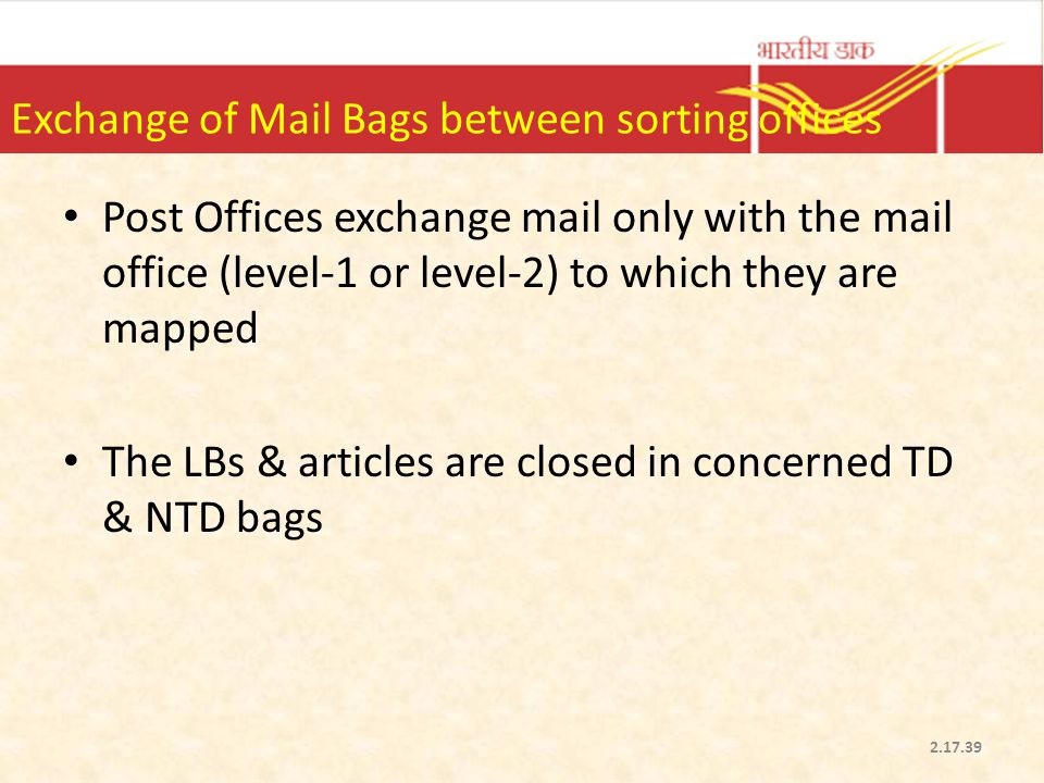 Exchange of Mail Bags between sorting offices Post Offices exchange mail only with the mail office (level-1 or level-2) to which they are mapped The L