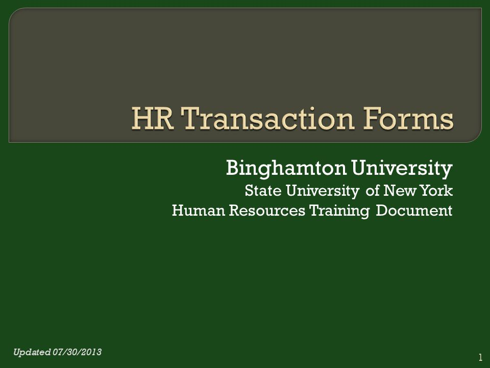 Binghamton University State University of New York Human Resources Training Document 1 Updated 07/30/2013
