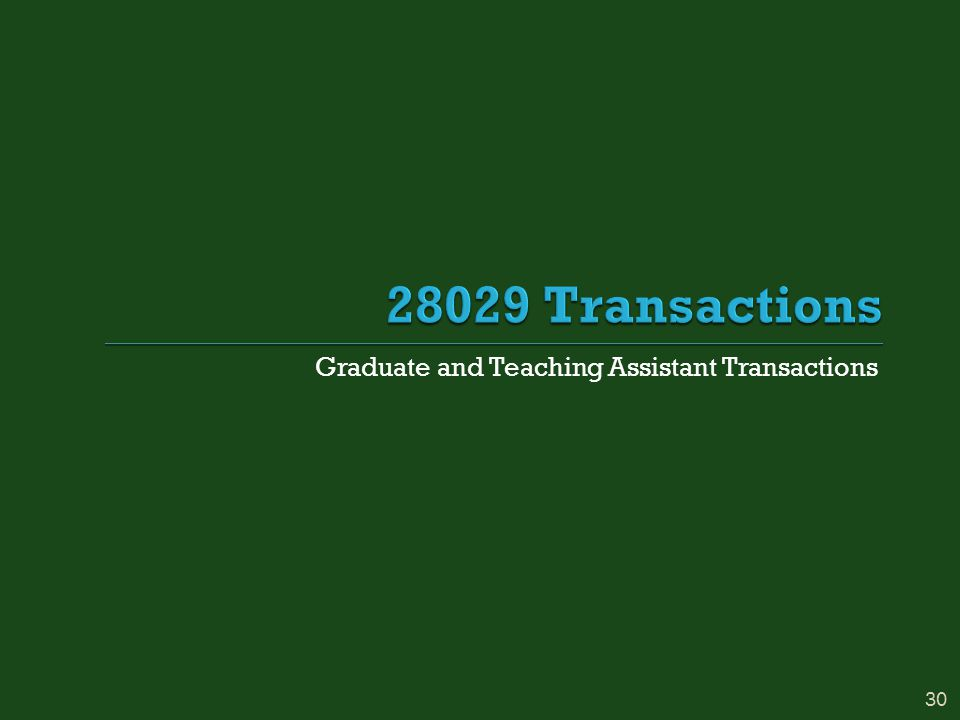 Graduate and Teaching Assistant Transactions 30