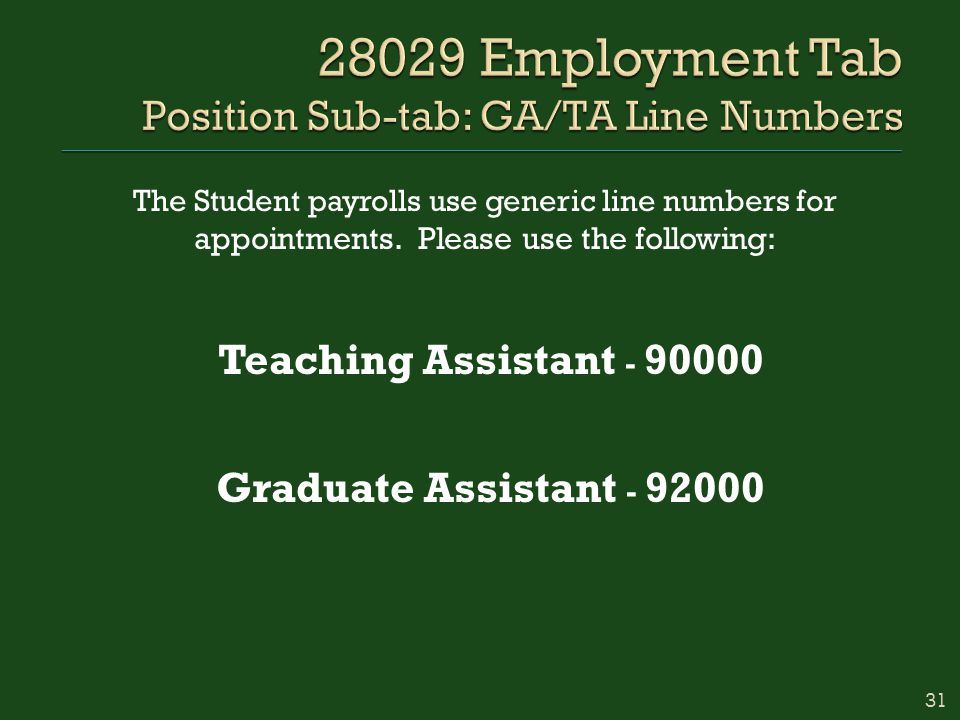 The Student payrolls use generic line numbers for appointments.