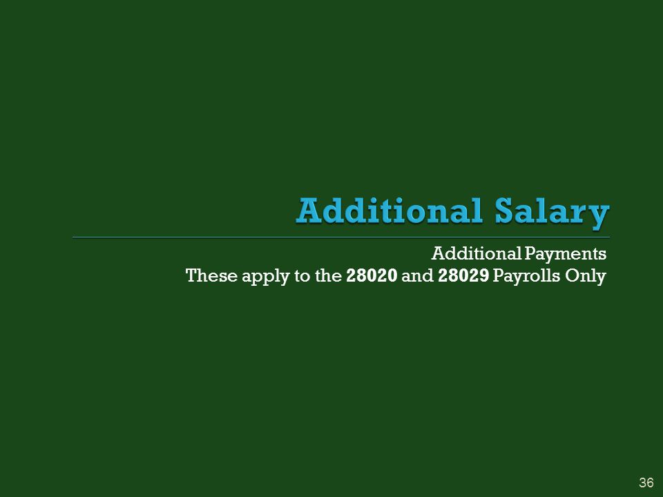 Additional Payments These apply to the 28020 and 28029 Payrolls Only 36