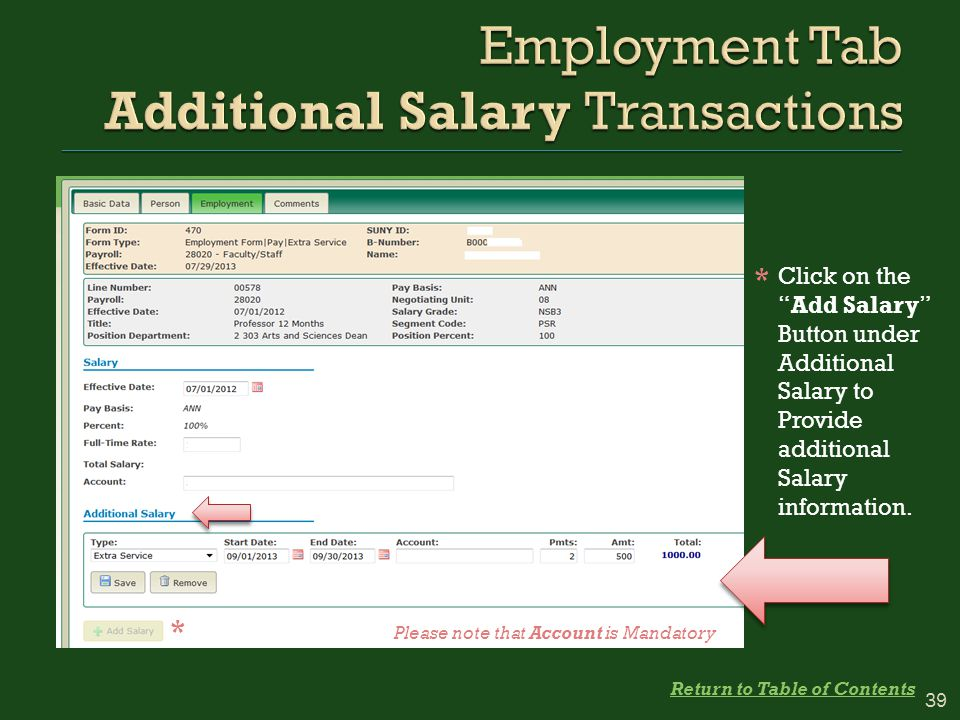 Click on the Add Salary Button under Additional Salary to Provide additional Salary information.