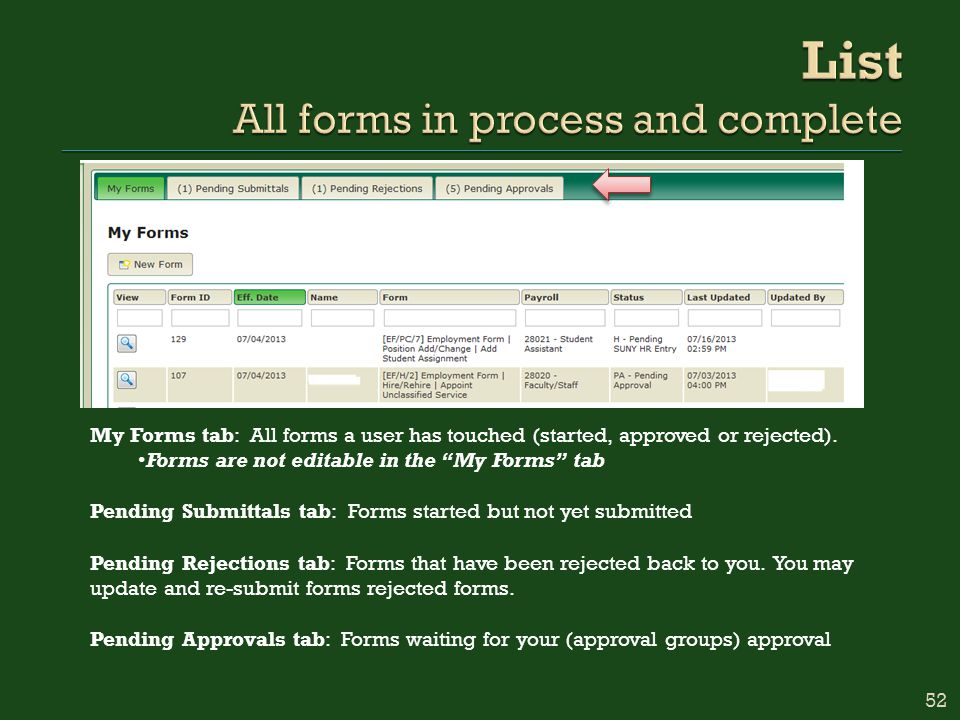 My Forms tab: All forms a user has touched (started, approved or rejected).