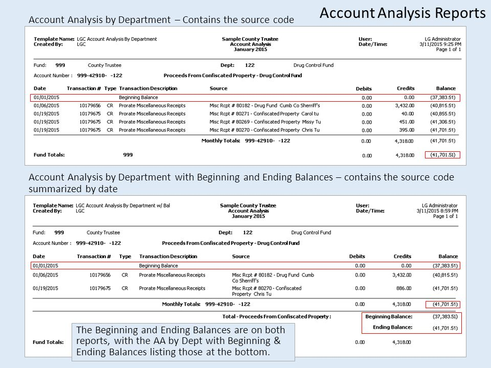 Account Analysis by Department – Contains the source code Account Analysis by Department with Beginning and Ending Balances – contains the source code summarized by date Account Analysis Reports The Beginning and Ending Balances are on both reports, with the AA by Dept with Beginning & Ending Balances listing those at the bottom.
