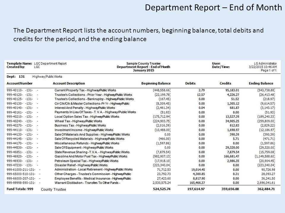 Department Report – End of Month The Department Report lists the account numbers, beginning balance, total debits and credits for the period, and the ending balance