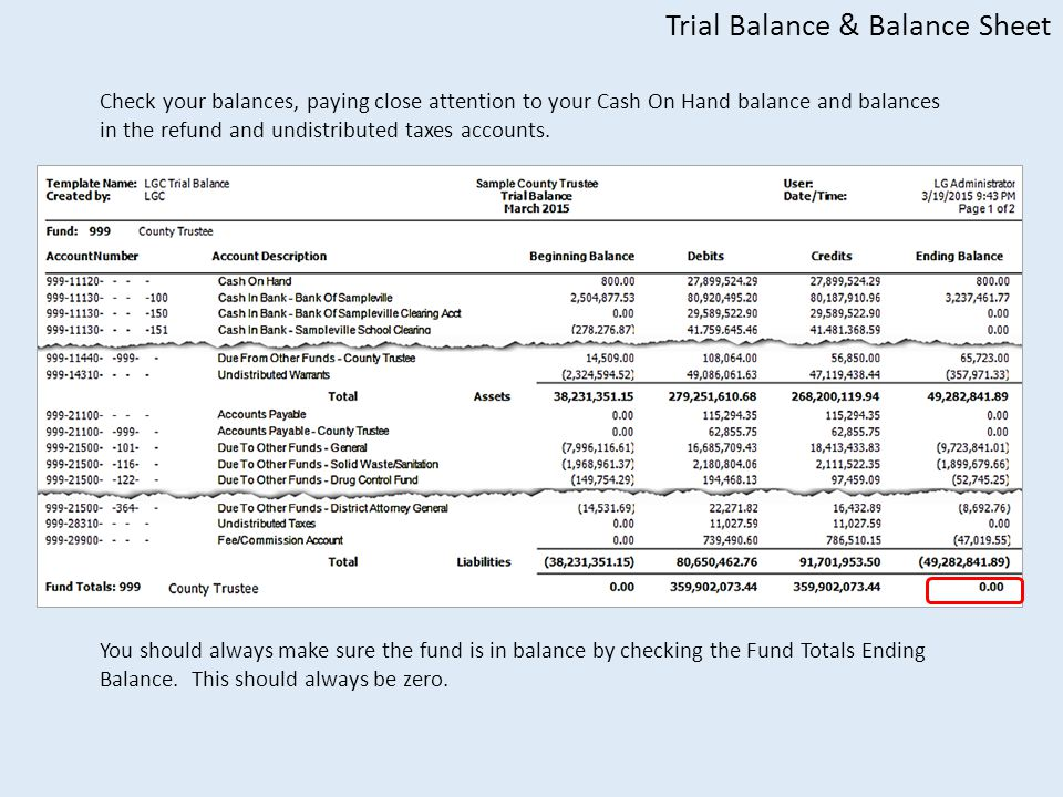 Trial Balance & Balance Sheet Check your balances, paying close attention to your Cash On Hand balance and balances in the refund and undistributed taxes accounts.