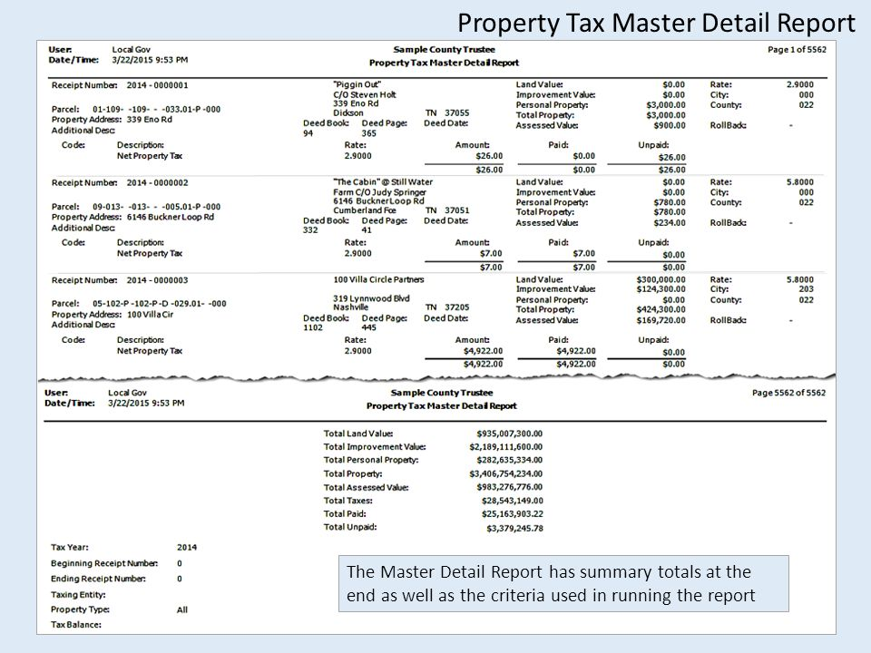 Property Tax Master Detail Report The Master Detail Report has summary totals at the end as well as the criteria used in running the report