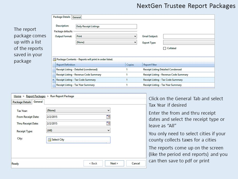 NextGen Trustee Report Packages The report package comes up with a list of the reports saved in your package Click on the General Tab and select Tax Year if desired Enter the from and thru receipt dates and select the receipt type or leave as All You only need to select cities if your county collects taxes for a cities The reports come up on the screen (like the period end reports) and you can then save to pdf or print