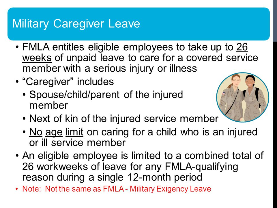 FMLA entitles eligible employees to take up to 26 weeks of unpaid leave to care for a covered service member with a serious injury or illness Caregiver includes Spouse/child/parent of the injured service member Next of kin of the injured service member No age limit on caring for a child who is an injured or ill service member An eligible employee is limited to a combined total of 26 workweeks of leave for any FMLA-qualifying reason during a single 12-month period Note: Not the same as FMLA - Military Exigency Leave