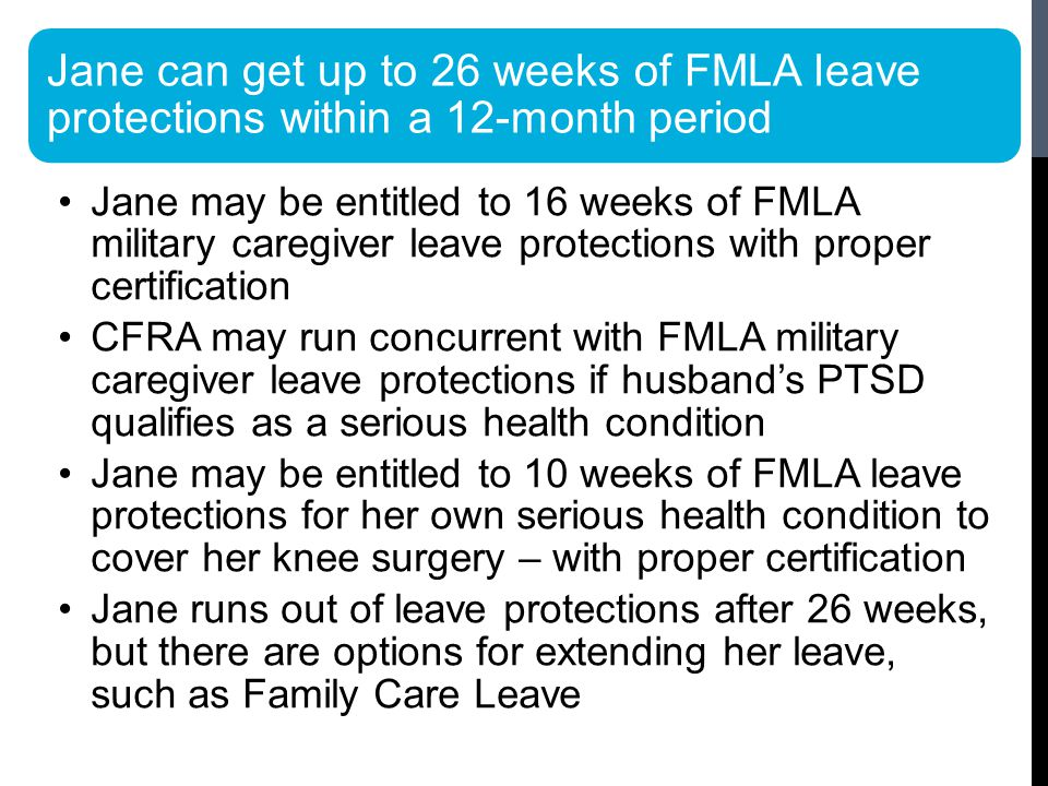 Jane can get up to 26 weeks of FMLA leave protections within a 12-month period Jane may be entitled to 16 weeks of FMLA military caregiver leave protections with proper certification CFRA may run concurrent with FMLA military caregiver leave protections if husband's PTSD qualifies as a serious health condition Jane may be entitled to 10 weeks of FMLA leave protections for her own serious health condition to cover her knee surgery – with proper certification Jane runs out of leave protections after 26 weeks, but there are options for extending her leave, such as Family Care Leave