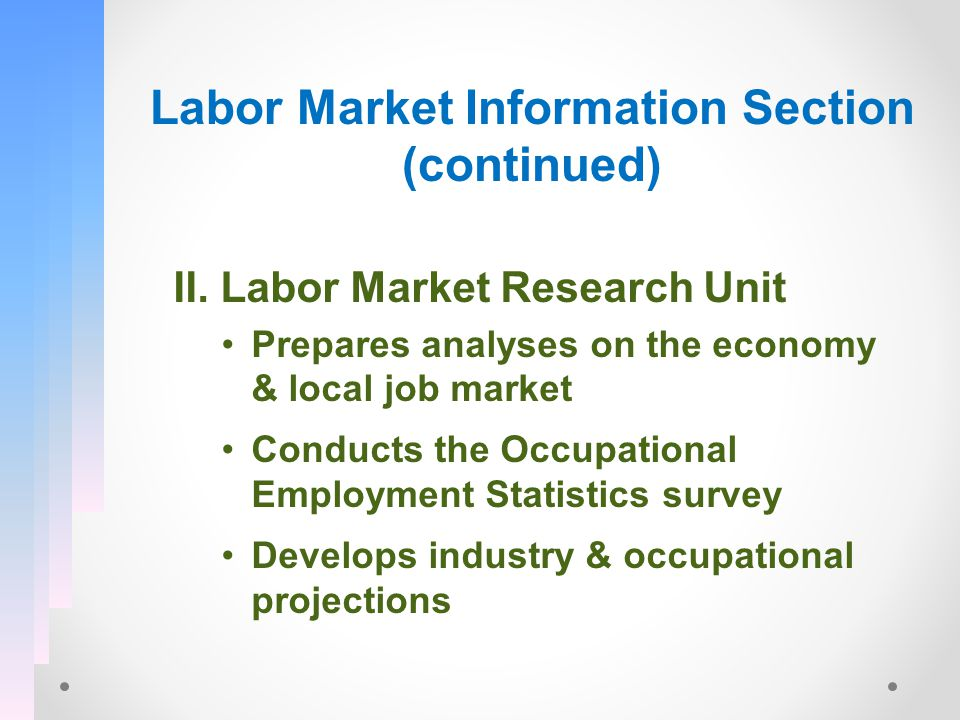 Labor Market Information Section (continued) II.