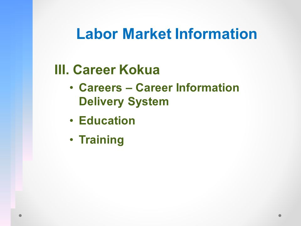 Labor Market Information III. Career Kokua Careers – Career Information Delivery System Education Training