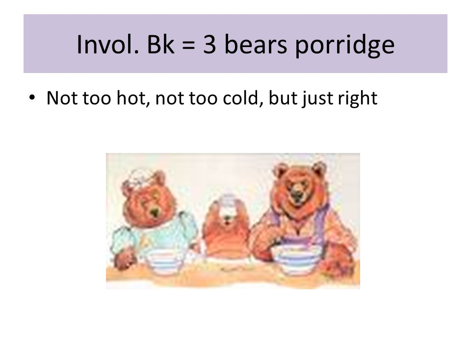 Invol. Bk = 3 bears porridge Not too hot, not too cold, but just right