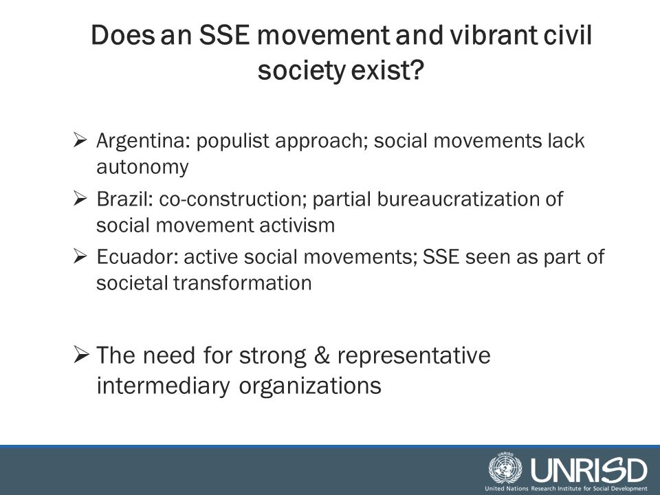 Does an SSE movement and vibrant civil society exist.