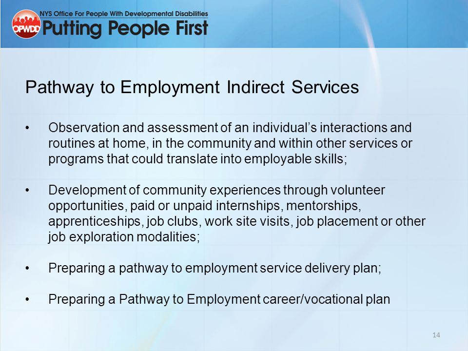 14 Pathway to Employment Indirect Services Observation and assessment of an individual's interactions and routines at home, in the community and within other services or programs that could translate into employable skills; Development of community experiences through volunteer opportunities, paid or unpaid internships, mentorships, apprenticeships, job clubs, work site visits, job placement or other job exploration modalities; Preparing a pathway to employment service delivery plan; Preparing a Pathway to Employment career/vocational plan
