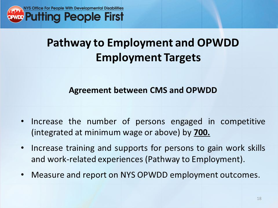Pathway to Employment and OPWDD Employment Targets Agreement between CMS and OPWDD Increase the number of persons engaged in competitive (integrated at minimum wage or above) by 700.