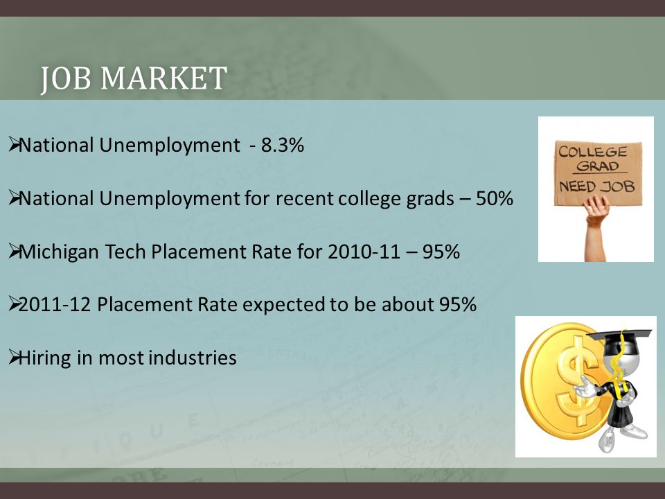 JOB MARKETJOB MARKET  National Unemployment - 8.3%  National Unemployment for recent college grads – 50%  Michigan Tech Placement Rate for 2010-11 – 95%  2011-12 Placement Rate expected to be about 95%  Hiring in most industries