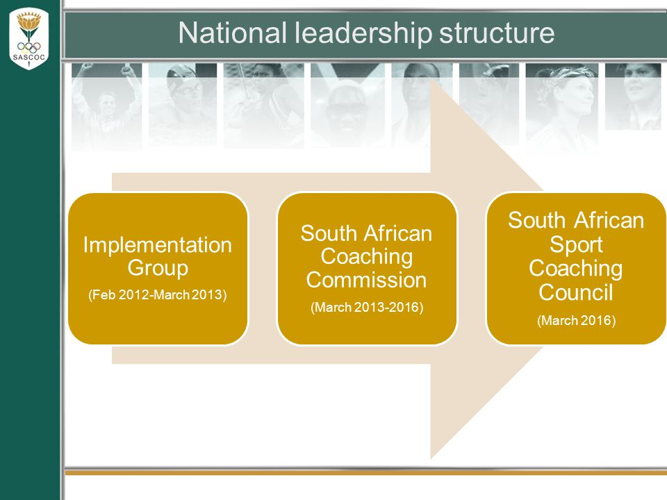 National leadership structure Implementation Group (Feb 2012-March 2013) South African Coaching Commission (March 2013-2016) South African Sport Coaching Council (March 2016)