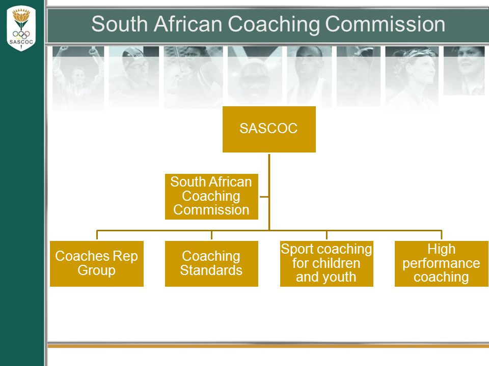 South African Coaching Commission SASCOC Coaches Rep Group Coaching Standards Sport coaching for children and youth High performance coaching South African Coaching Commission