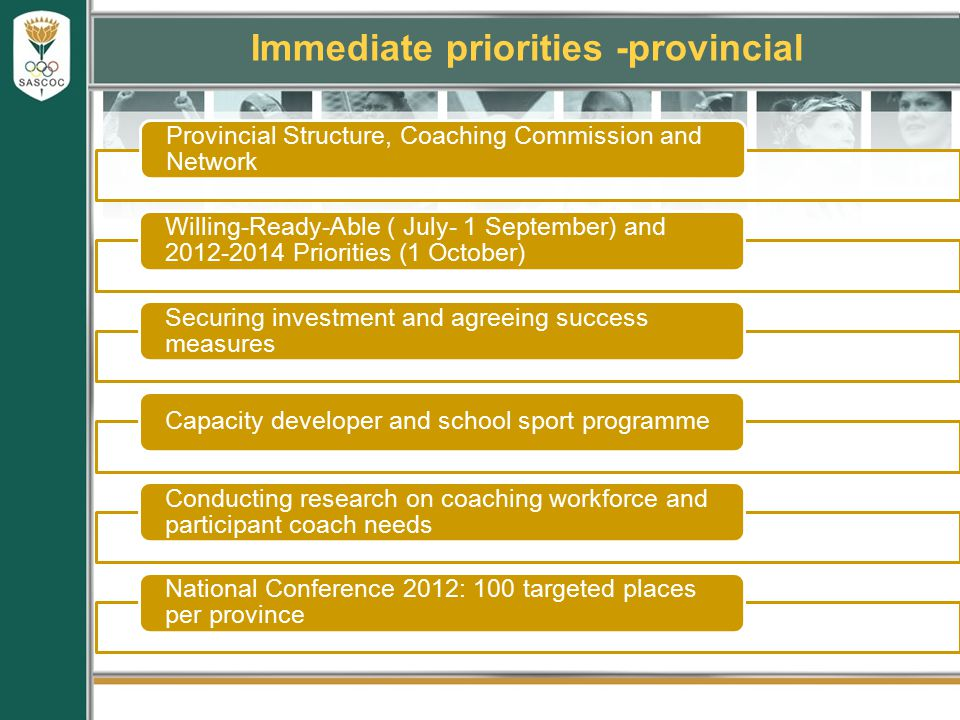 Immediate priorities -provincial Provincial Structure, Coaching Commission and Network Willing-Ready-Able ( July- 1 September) and 2012-2014 Priorities (1 October) Securing investment and agreeing success measures Capacity developer and school sport programme Conducting research on coaching workforce and participant coach needs National Conference 2012: 100 targeted places per province