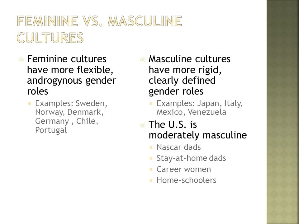  Feminine cultures have more flexible, androgynous gender roles  Examples: Sweden, Norway, Denmark, Germany, Chile, Portugal  Masculine cultures have more rigid, clearly defined gender roles  Examples: Japan, Italy, Mexico, Venezuela  The U.S.