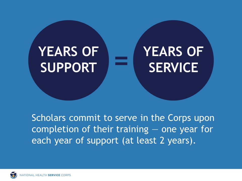Scholars commit to serve in the Corps upon completion of their training — one year for each year of support (at least 2 years). SUPPORT YEARS OF SERVI