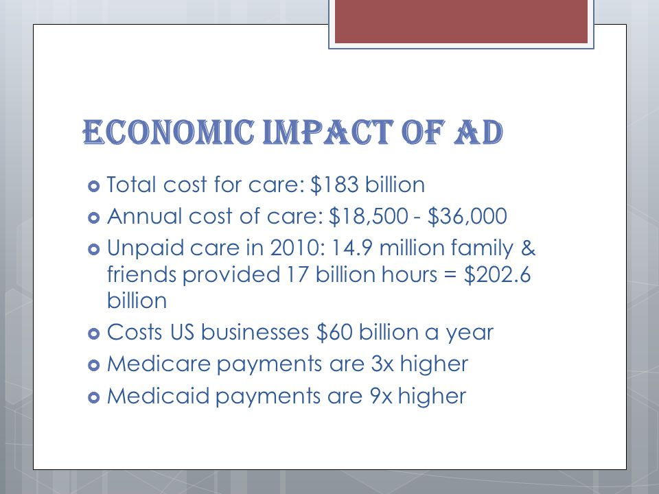 Economic Impact of AD  Total cost for care: $183 billion  Annual cost of care: $18,500 - $36,000  Unpaid care in 2010: 14.9 million family & friends provided 17 billion hours = $202.6 billion  Costs US businesses $60 billion a year  Medicare payments are 3x higher  Medicaid payments are 9x higher