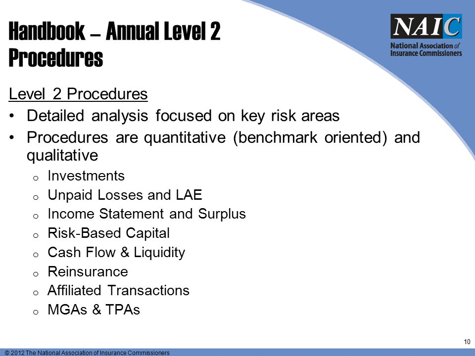© 2012 The National Association of Insurance Commissioners Handbook – Annual Level 2 Procedures Level 2 Procedures Detailed analysis focused on key ri
