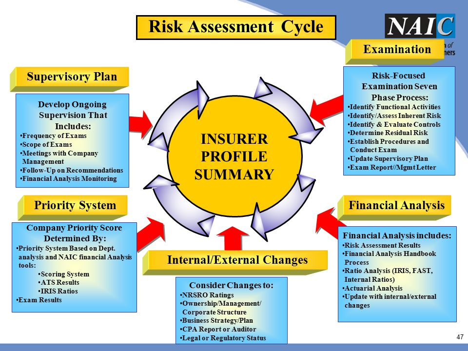 Risk Assessment Cycle INSURER PROFILE SUMMARY Internal/External Changes Examination Priority System Supervisory Plan Risk-Focused Examination Seven Ph