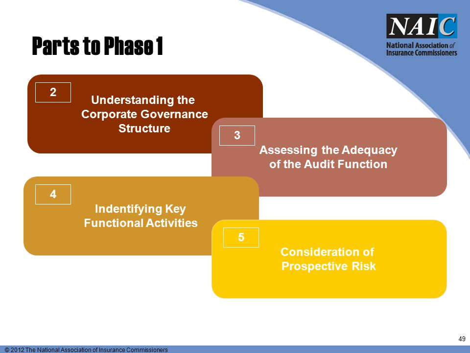 © 2012 The National Association of Insurance Commissioners Parts to Phase 1 Understanding the Corporate Governance Structure Assessing the Adequacy of