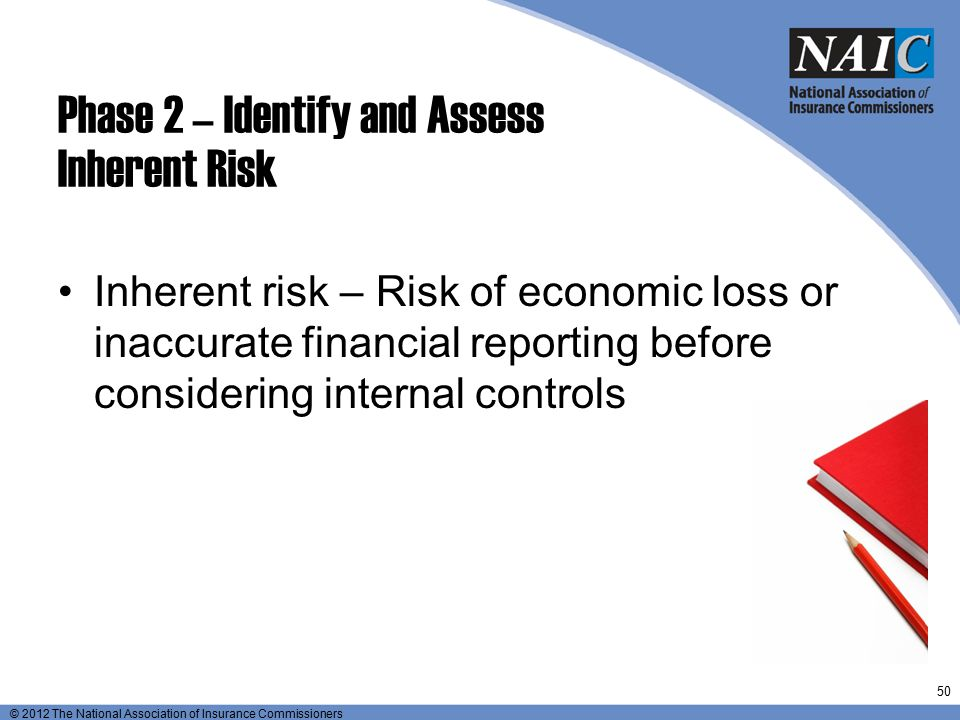 © 2012 The National Association of Insurance Commissioners Phase 2 – Identify and Assess Inherent Risk Inherent risk – Risk of economic loss or inaccu