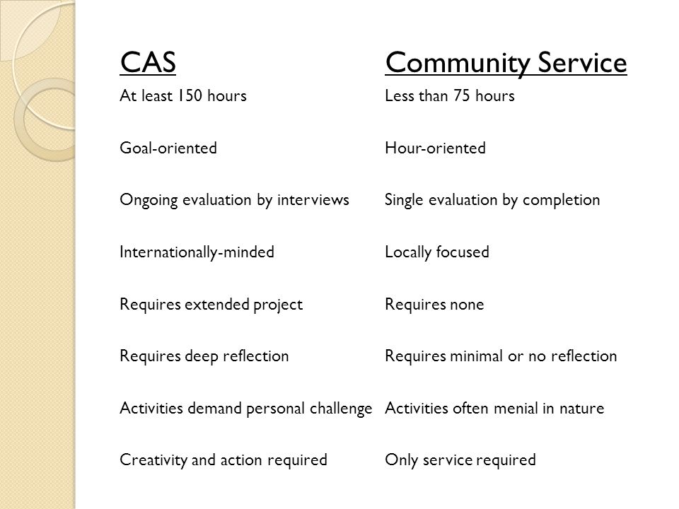 CAS Requirements for IB Diploma At least 150 total hours of CAS Sustained 18 months (no interruptions) Completion of one extended CAS project Sustained reflections Adequate balance of creativity, action, and service Completion of five personal interviews with CAS advisor