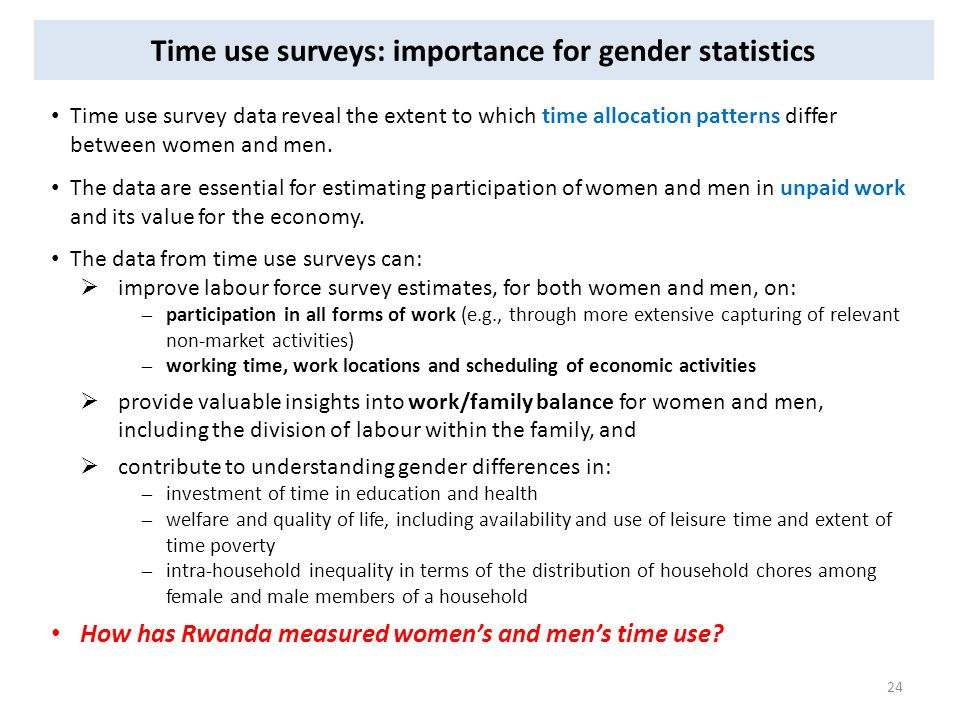 Time use surveys: importance for gender statistics Time use survey data reveal the extent to which time allocation patterns differ between women and men.