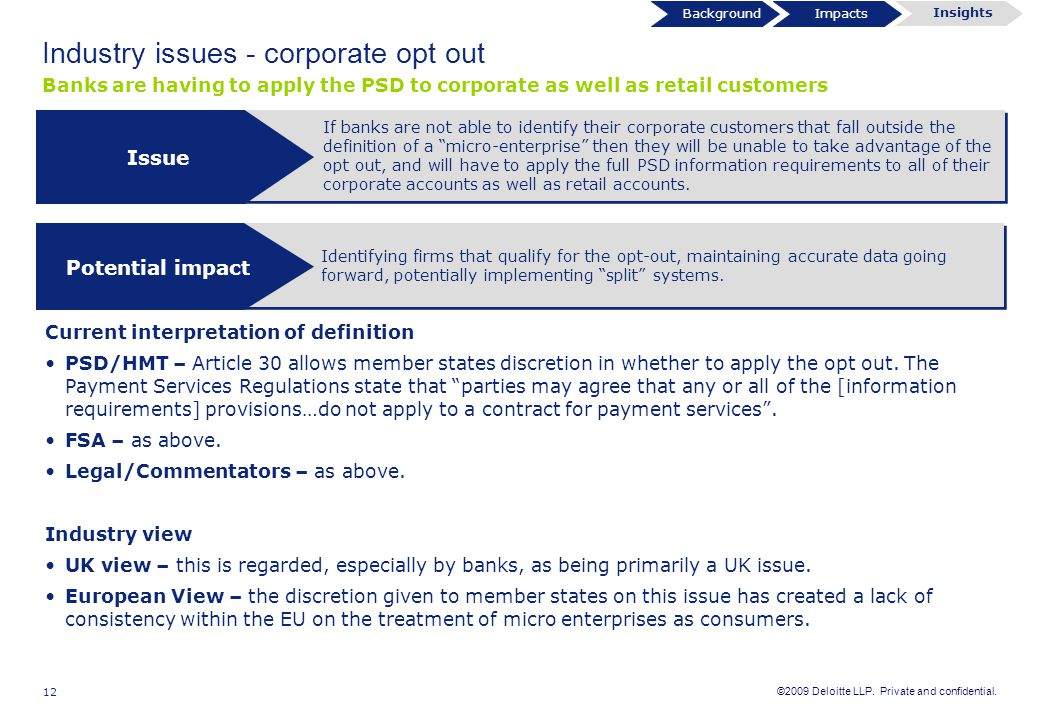 "©2009 Deloitte LLP. Private and confidential. 12 If banks are not able to identify their corporate customers that fall outside the definition of a ""mi"