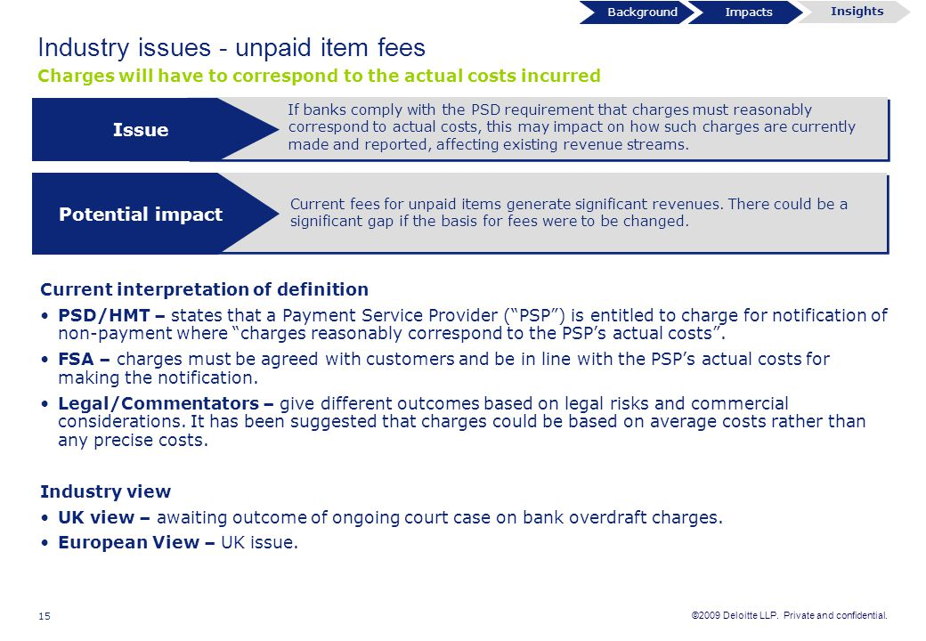 ©2009 Deloitte LLP. Private and confidential. 15 Industry issues - unpaid item fees If banks comply with the PSD requirement that charges must reasona