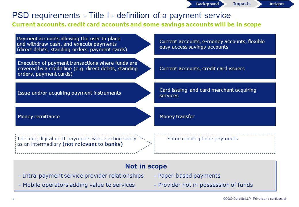 ©2009 Deloitte LLP. Private and confidential. 7 Not in scope - Intra-payment service provider relationships - Paper-based payments - Mobile operators