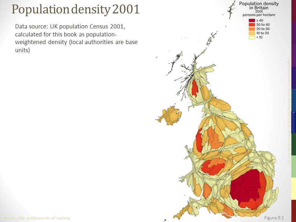 The Population of the UK – © 2012 Sasi Research Group, University of Sheffield Population density 2001 Data source: UK population Census 2001, calcula