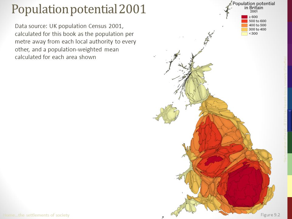 The Population of the UK – © 2012 Sasi Research Group, University of Sheffield Population potential 2001 Data source: UK population Census 2001, calcu
