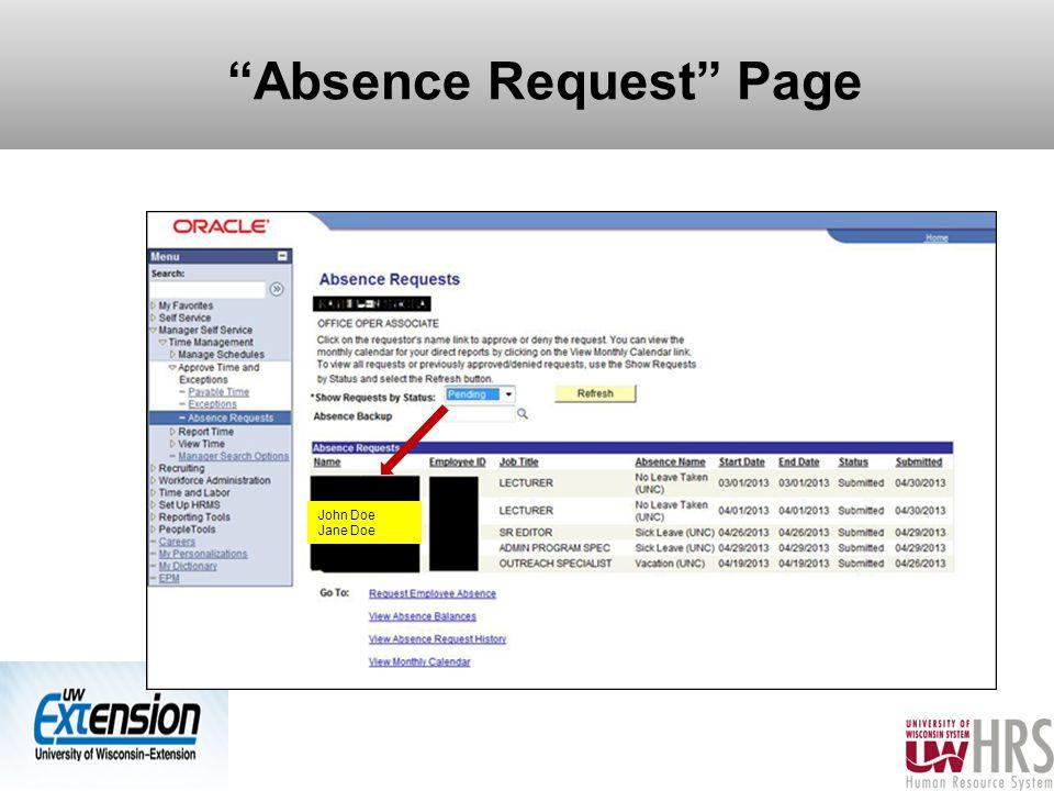 Absence Request Page 22 John Doe Jane Doe