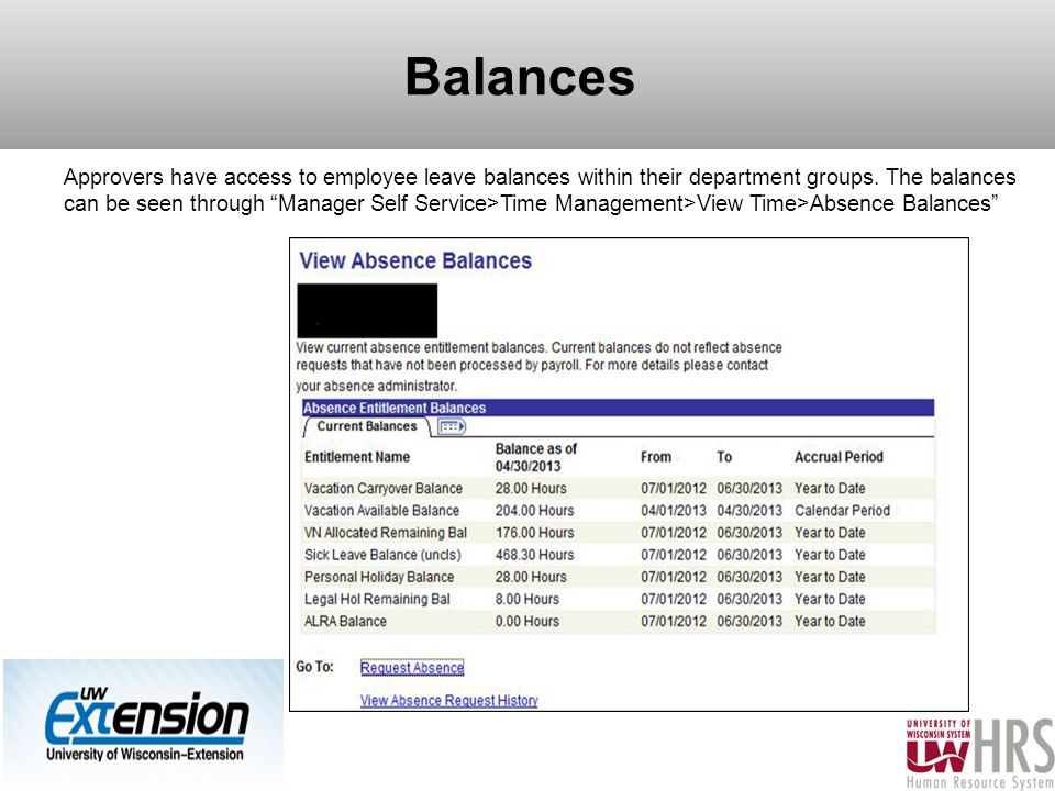 Balances Approvers have access to employee leave balances within their department groups.