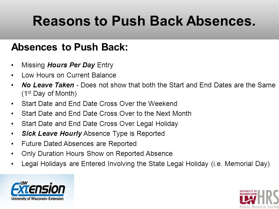 Reasons to Push Back Absences.