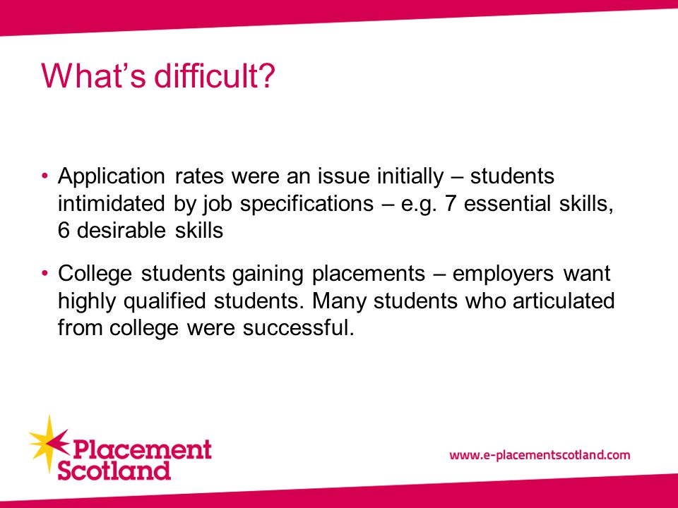 Application rates were an issue initially – students intimidated by job specifications – e.g.