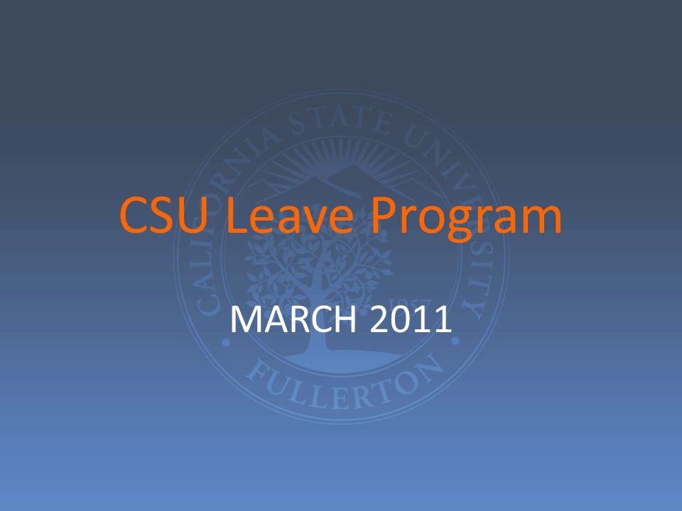 CSU Leave Program MARCH 2011