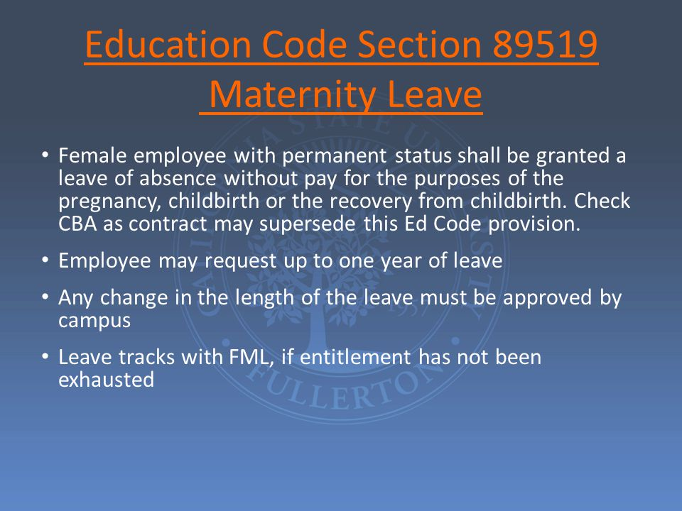 Maternity/Paternity/Adoption/Parental Leave Paid leave associated with the birth of an employee's own child or the placement of a child with the employee in connection with adoption or foster care.