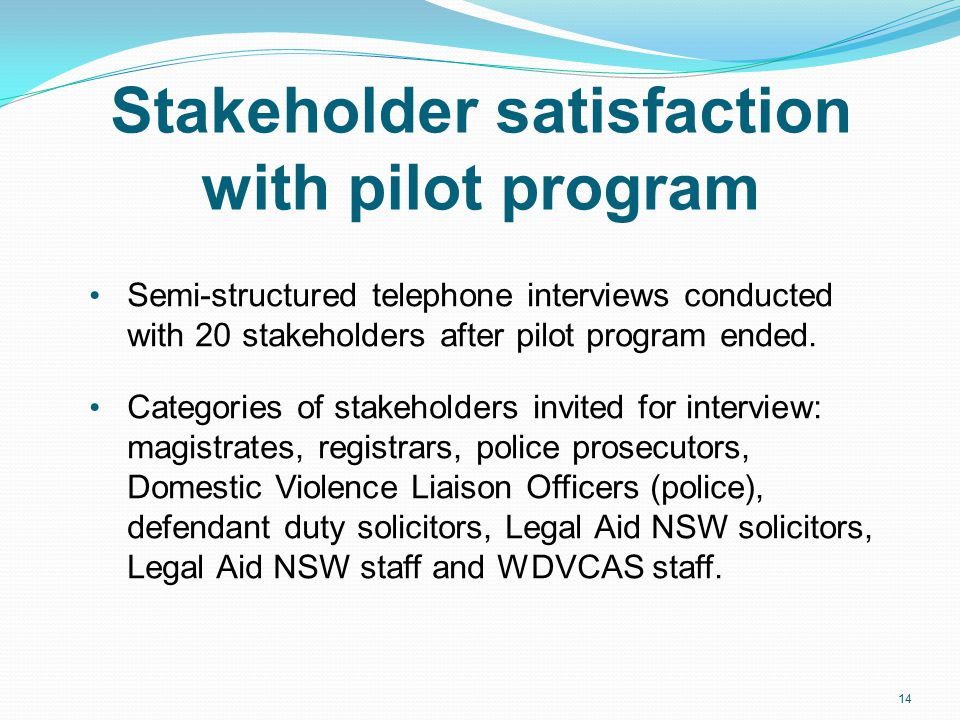 Stakeholder satisfaction with pilot program Semi-structured telephone interviews conducted with 20 stakeholders after pilot program ended.