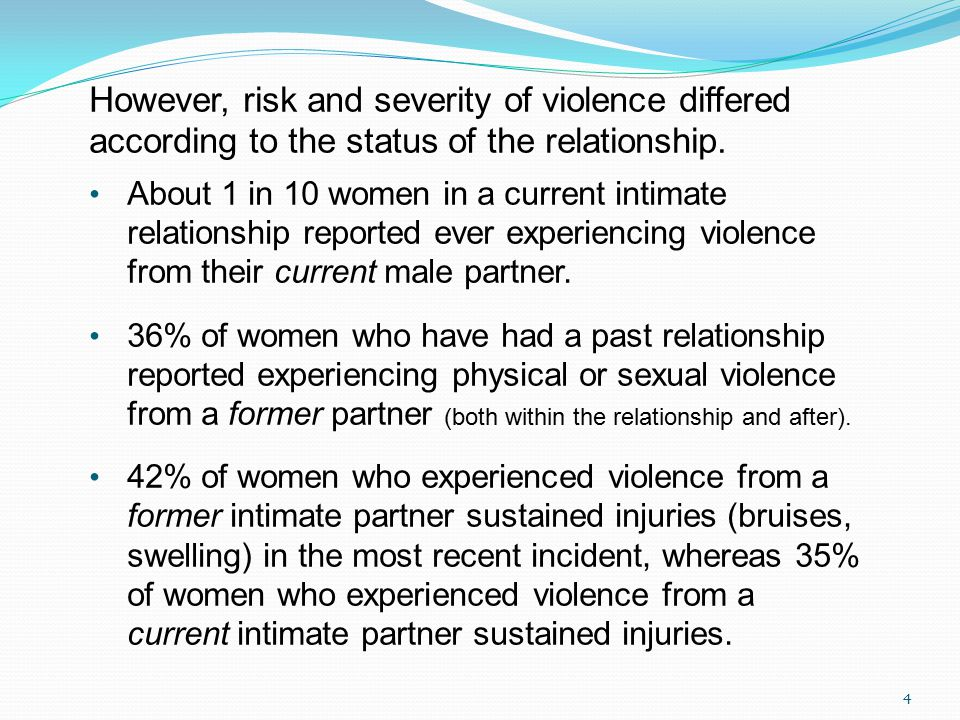 However, risk and severity of violence differed according to the status of the relationship.